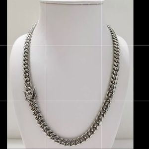 Other - White Gold Box Clasp Miami Cuban Chain Necklace